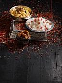 Lentil curry, rice and lemon chutney (India)