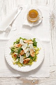 mixed leaf salad with grilled turkey and a honey and mustard dressing