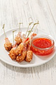 Prawns with a coconut coating and chilli sauce