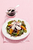Beetroot salad with oranges, goat's cheese and onions