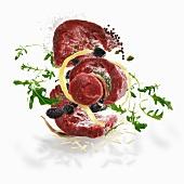 Zutaten für Rinderrouladen mit Oliven, Sardellen und Kapern