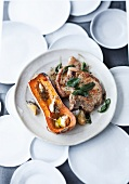 Pork chops with sage and baked butternut squash