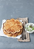 Waffles with cheese, carrots and herbs