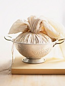 Christmas pudding wrapped in a pudding cloth