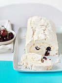 Meringue and cherry roulade