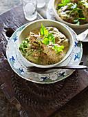 Green chicken curry with coriander