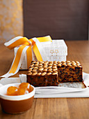 English fruit cake with almonds for Christmas
