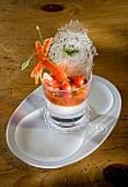 Verrine with cherry tomatoes and prawns