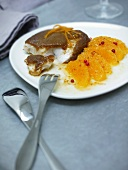Scorpion fish with spicy bread crust and orange