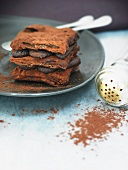 Chocolate mille feuilles with cocoa powder