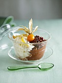 Rice pudding with chocolate, physalis and raisins