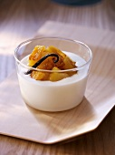 Quark cream with caramelised pineapple