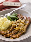 Braised brisket with onions and mashed potatoes, USA