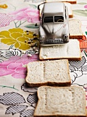 Slices of bread and a model car