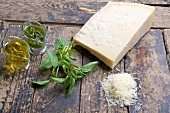 Parmesan, olive oil, pesto and basil