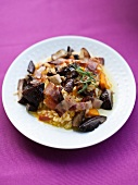 Pumpkin risotto with porcini mushrooms and bacon