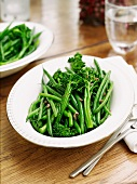 Broccolini and green beans with garlic and anchovies