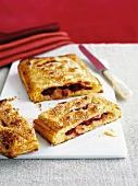 Puff pastry pockets filled with raspberries and vanilla cream