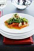 Smoked salmon with green beans and aubergine caviar