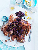 Grilled turkey with buffalo mozzarella and red grapes