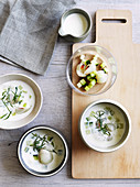 Apple and sour cream soup with cucumber and lychees