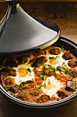 Moroccan lamb tajine with fried eggs
