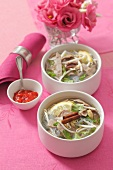 Rice noodle soup with beef and bean sprouts