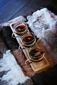 Three glasses of mulled wine