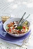 Spelt salad with vegetables
