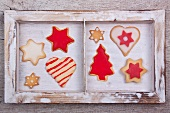 Assorted Christmas cookies in a wooden frame