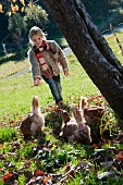 Girl feeding hens in autumnal meadow