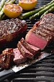 Grilled New York strip steaks