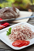 Meat salad with onions