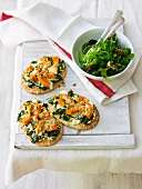 Pizzette alla zucca (mini pumpkin, spinach and ricotta pizzas)