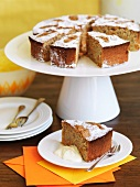 Carrot and almond cake on a cake stand