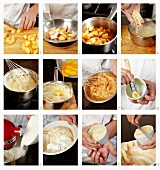 Peach souffle being prepared