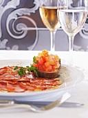 Bruschetta and carpaccio of Iberian ham