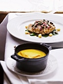Veal sweetbreads with a caper sauce and carrot and turmeric puree