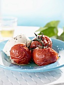 Baked tomatoes with buffalo mozzarella