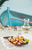 Fried prawns and feta with tzatziki
