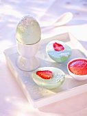 Coconut eggs with strawberry yolks