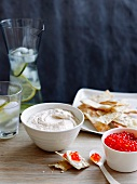 Taramasalata with salmon caviar and crackers