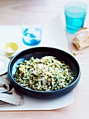 Barley with artichokes, pecorino and stinging nettle butter