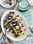 Mussel stew with oyster mushrooms (Basque cuisine)