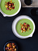 Pea and sherry soup with chorizo oil and croutons
