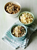 Various toppings for crumbles (muesli, nuts, gluten-free cornflakes)