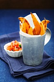 Sweet potato chips with salsa
