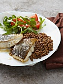 Cod with a lentil medley
