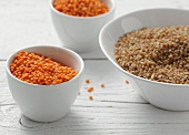 Red lentils and bulgur wheat
