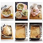 Stuffed turkey being prepared